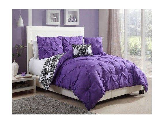 New Twin Queen Bed Bag Purple Black Damask