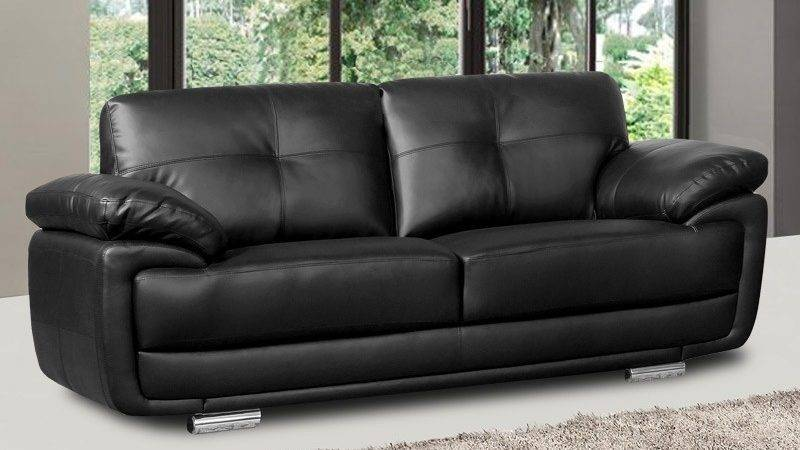 Newark Black Leather Sofa Collection Pocket Sprung