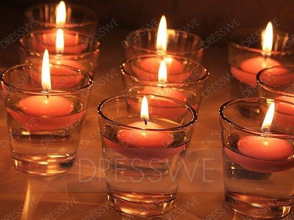 Nice Glass Cup Water Floating Candle Holder Includ Two