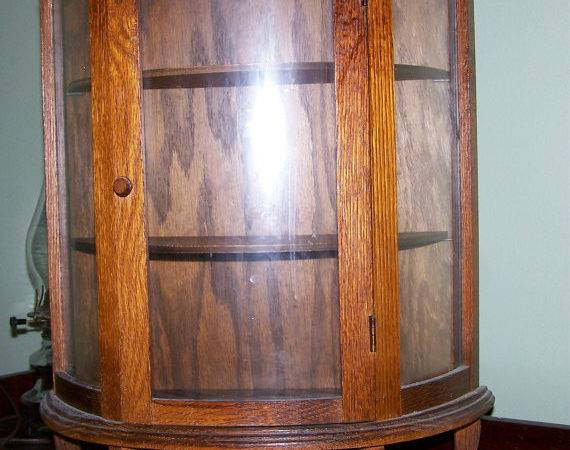 Oak Wood Small China Cabinet Display Case Twowee Etsy