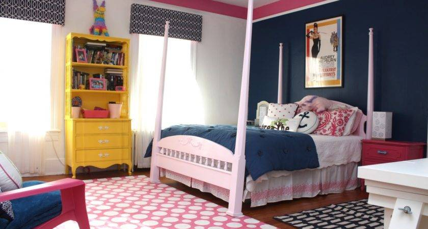 Old Country House Navy Pink Teen Girl Room