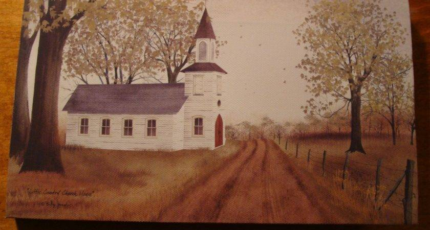 Old Country Primitive Church Americana Canvas Painting