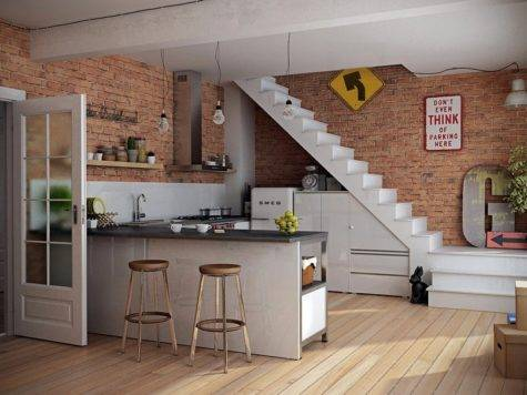 Old Kitchen Design Exposed Brick Wall Inspiring Open
