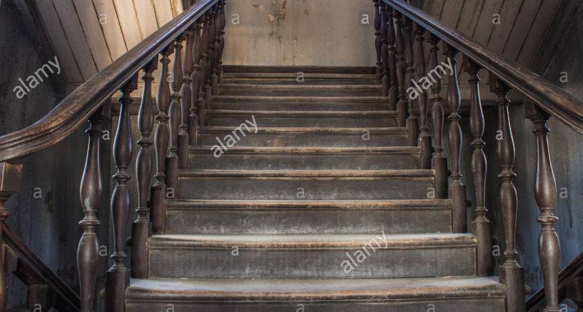 Old Wooden Staircase Railing Handrails Balusters