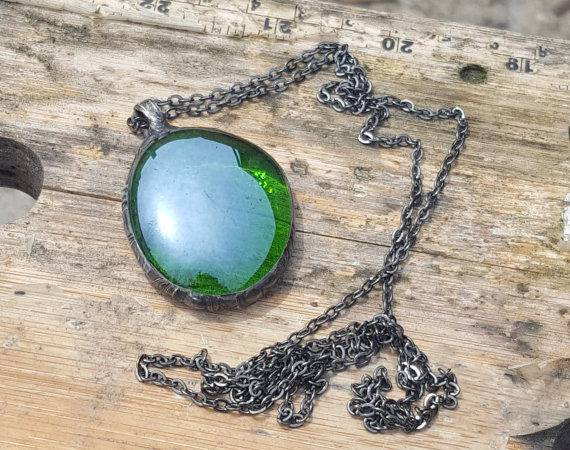 Opalesent Green Glass Pendant Rustic Jewelry Boho