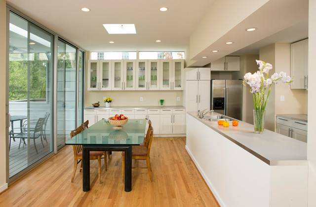 Open Galley Kitchen Dining Area Contemporary