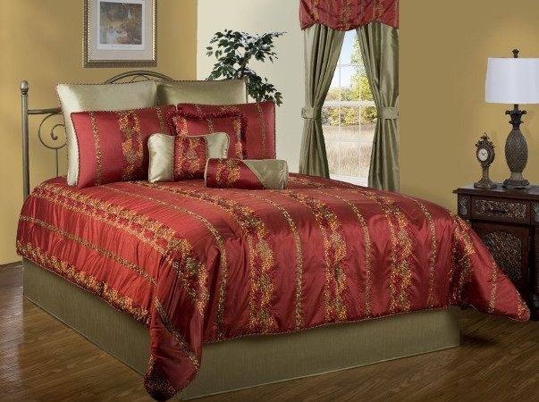 Opulent Red Gold Mosaic Striped Embroidered Comforter