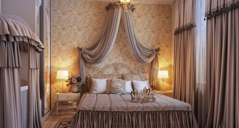 Opulent Romantic Bedroom Design Chandelier Gorden Fur