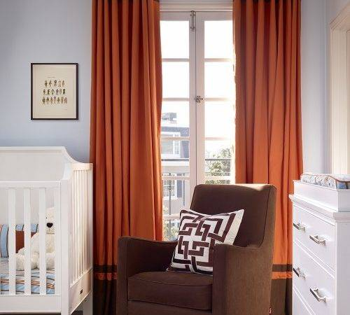 Orange Brown Curtains Contemporary Nursery