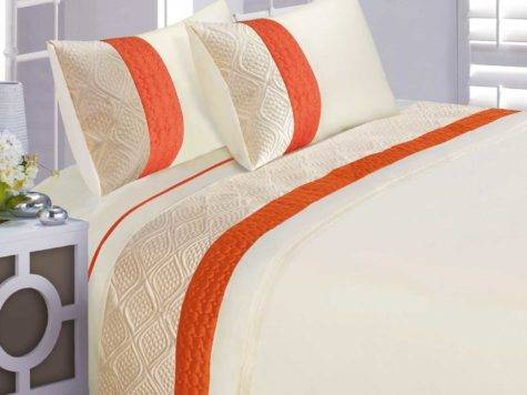 Orange Cream Modern Stylish Quilted Pattern Duvet Quilt