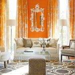 Orange Curtains Contemporary Living Room Elle Decor