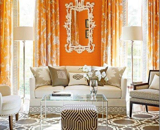 Orange Curtains French Living Room