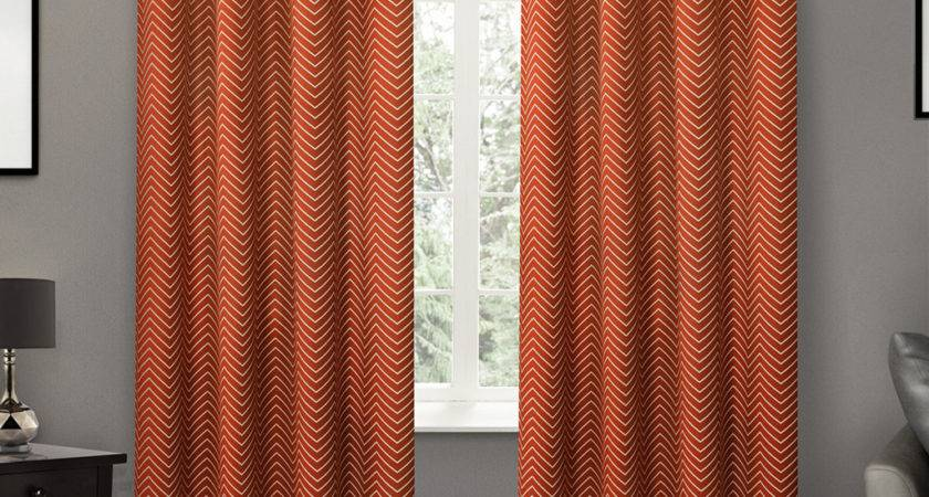 Orange Curtains Gray Walls Home Honoroak