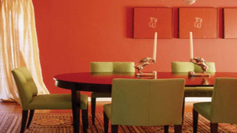 Orange Dining Room Green