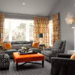 Orange Gray Curtains Contemporary Living Room