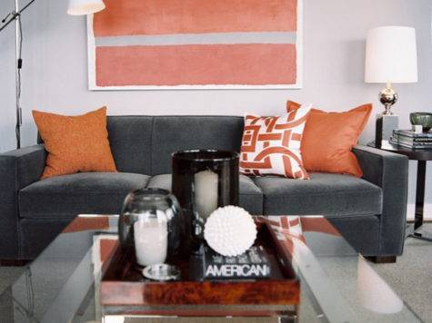 Orange Gray Living Room