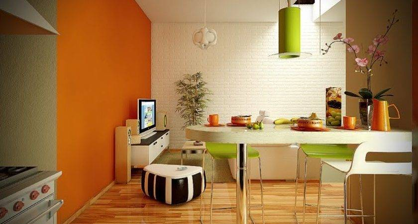 Orange Lime Green White Dining Living Room Interior