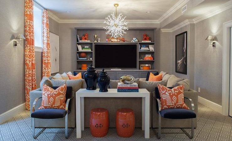 Orange Navy Pillows Design Ideas