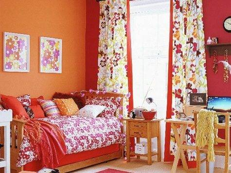 Orange Red Bedroom Colourful Children