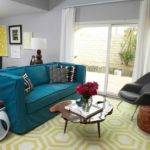 Orange Teal Grey Living Room Modern House