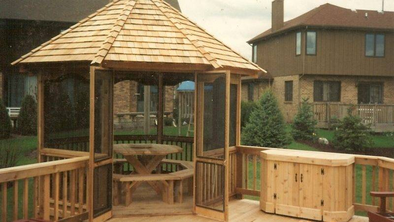 Outdoor Rustic Wooden Gazebo Kits Design Slopping