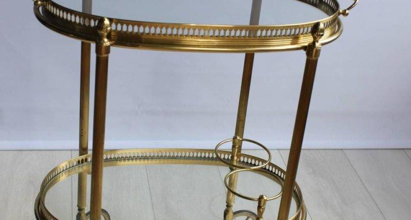 Oval Brass Vintage French Drinks Trolley Bar Cart