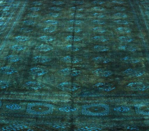 Overdyed Persian Bokhara Forest Green Teal Rug