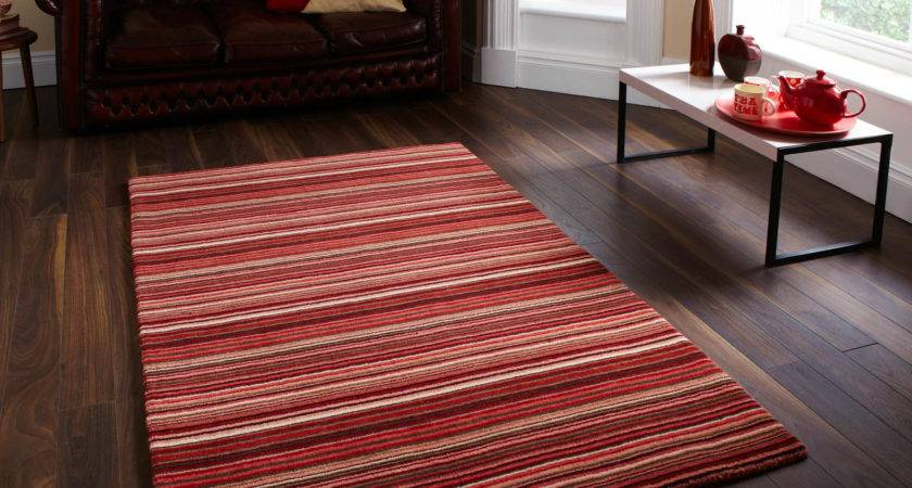 Oxford Rugs Stripes Red Beige Delivery