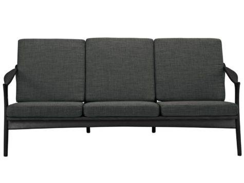 Pace Modern Walnut Sofa Upholstered Cushions Black Gray