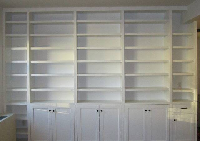 Painted Built Bookcase Contemporary Living Room