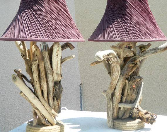 Pair Driftwood Lamps Bedside Living Room Loveupcycleduk