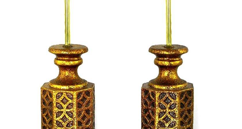 Pair Moroccan Style Gilt Arabesques Table Lamps