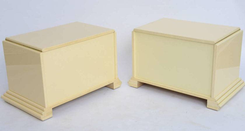 Pair Rougier Streamline Moderne Style Cream Lacquer