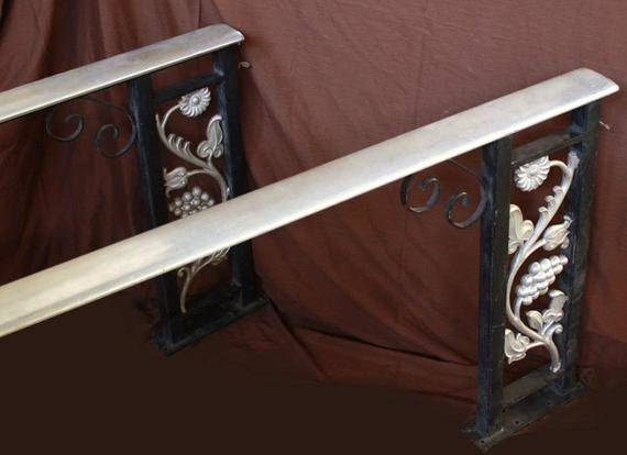 Pair Vintage Steel Cast Iron Handrail Porch Stair Hand Rail