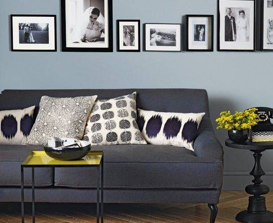 Pale Blue Charcoal Grey Living Room