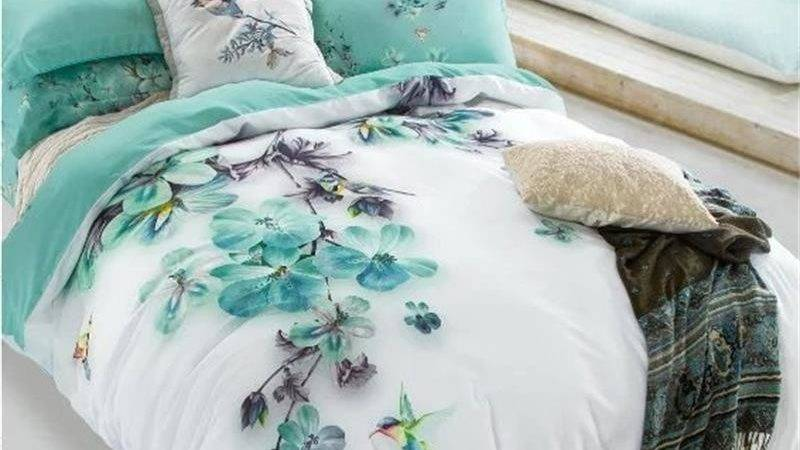 Pale Turquoise Floral Bird Print Bedding Sets Queen