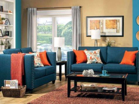Palermo Turquoise Blue Living Room Set Furniture