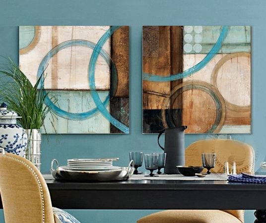 Panel Blue Brown Circles Modern Abstract Oil
