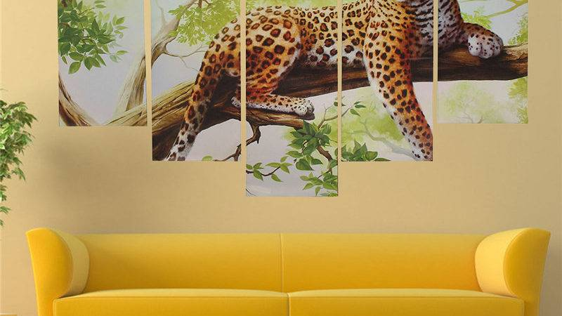 Panel Leopard Oil Painting Wall Decor Canvas