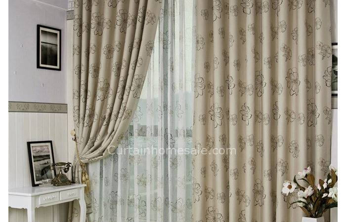 Pastoral Beige Polyester Coffee Color Floral Print