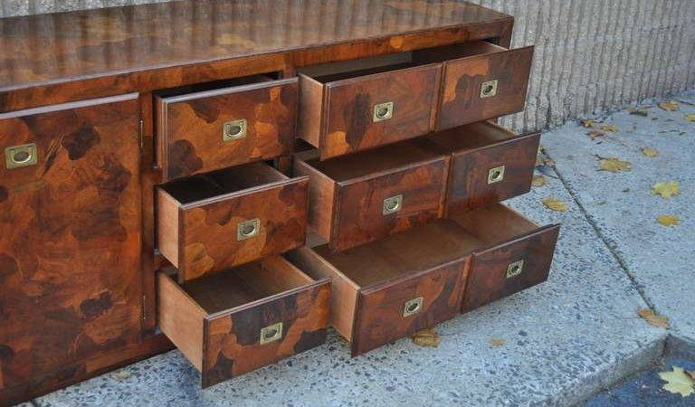 Patchwork Burl Wood Campaign Style Credenza Chest After