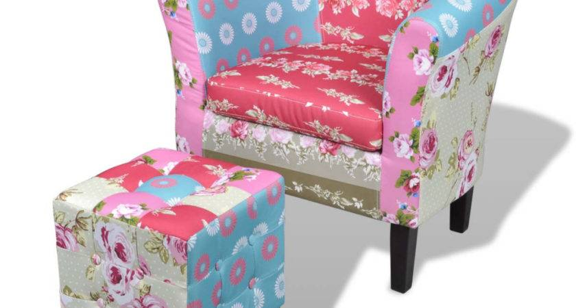 Patchwork Chair Upholstered Armrest Foot Stool