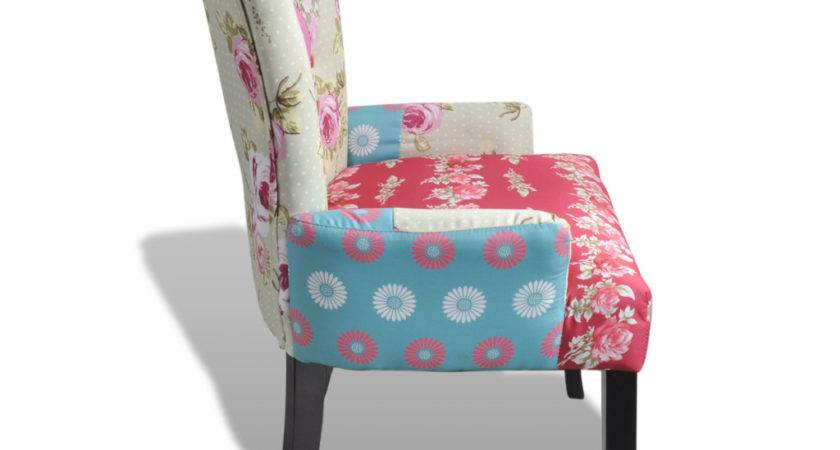 Patchwork Chair Upholstered Armrest Relax Multi Coloured