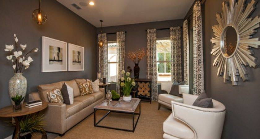 Patterned Drapes Curtains Grey Tan Living Room