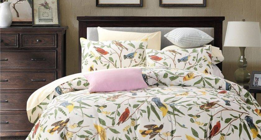 Pcs Luxury Satin Bedding Set Birds King Queen