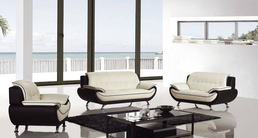 Pcs Modern Ivory Black Bonded Leather Living