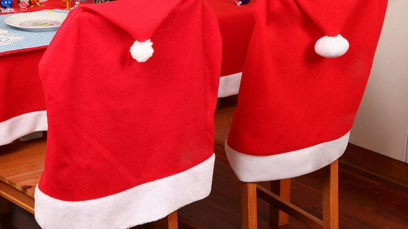 Pcs Santa Clause Red Hat Chair Back Cover Christmas
