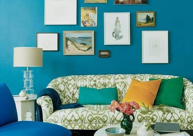 Peacock Blue Living Room Eclectic Domino