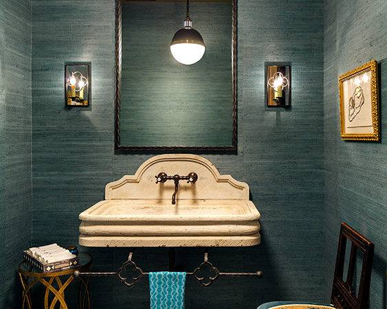 Peacock Blue Powder Room Gold Accents Contemporary