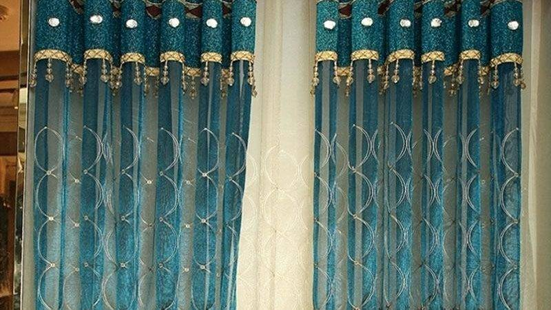 Peacock Color Sheer Curtains Teawing